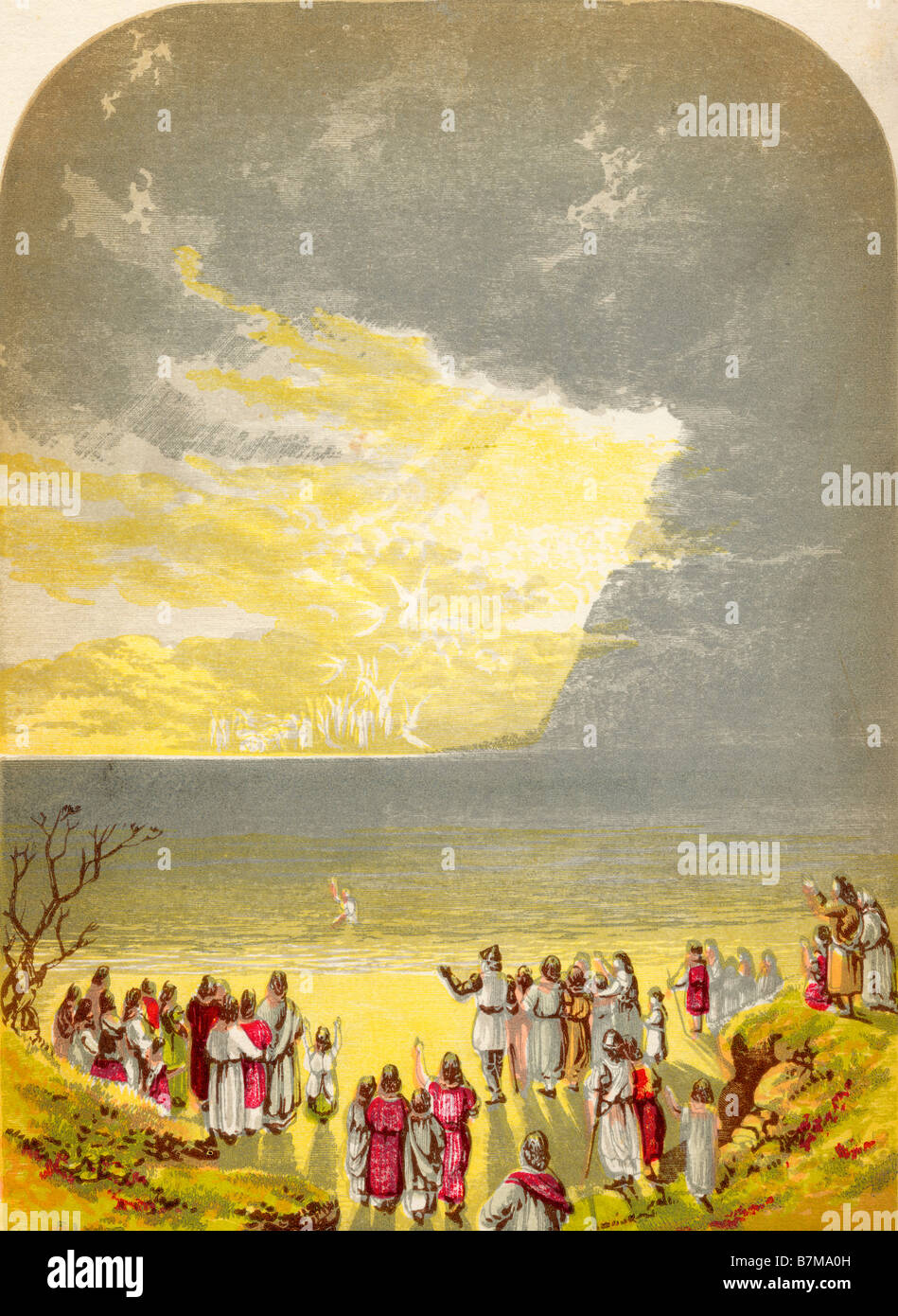 Christian Crossing the River Illustration by A F Lydon From the book The Pilgrims Progress by John Bunyan published - Stock Image