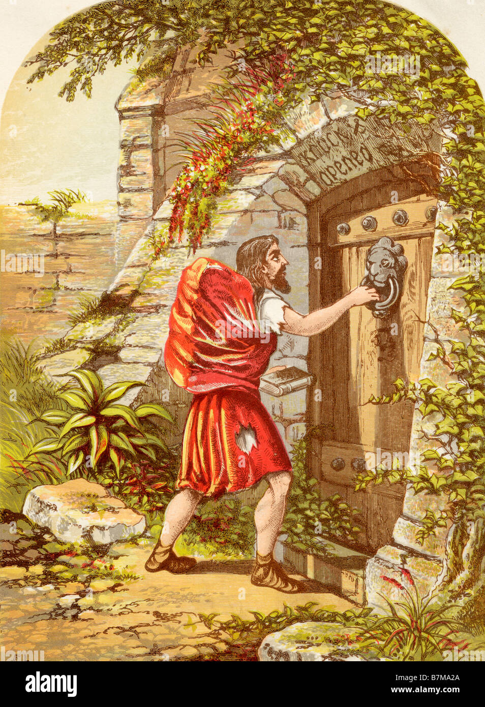 Christian at the Gate. Illustration by A F Lydon. From the book The Pilgrims Progress by John Bunyan, published - Stock Image