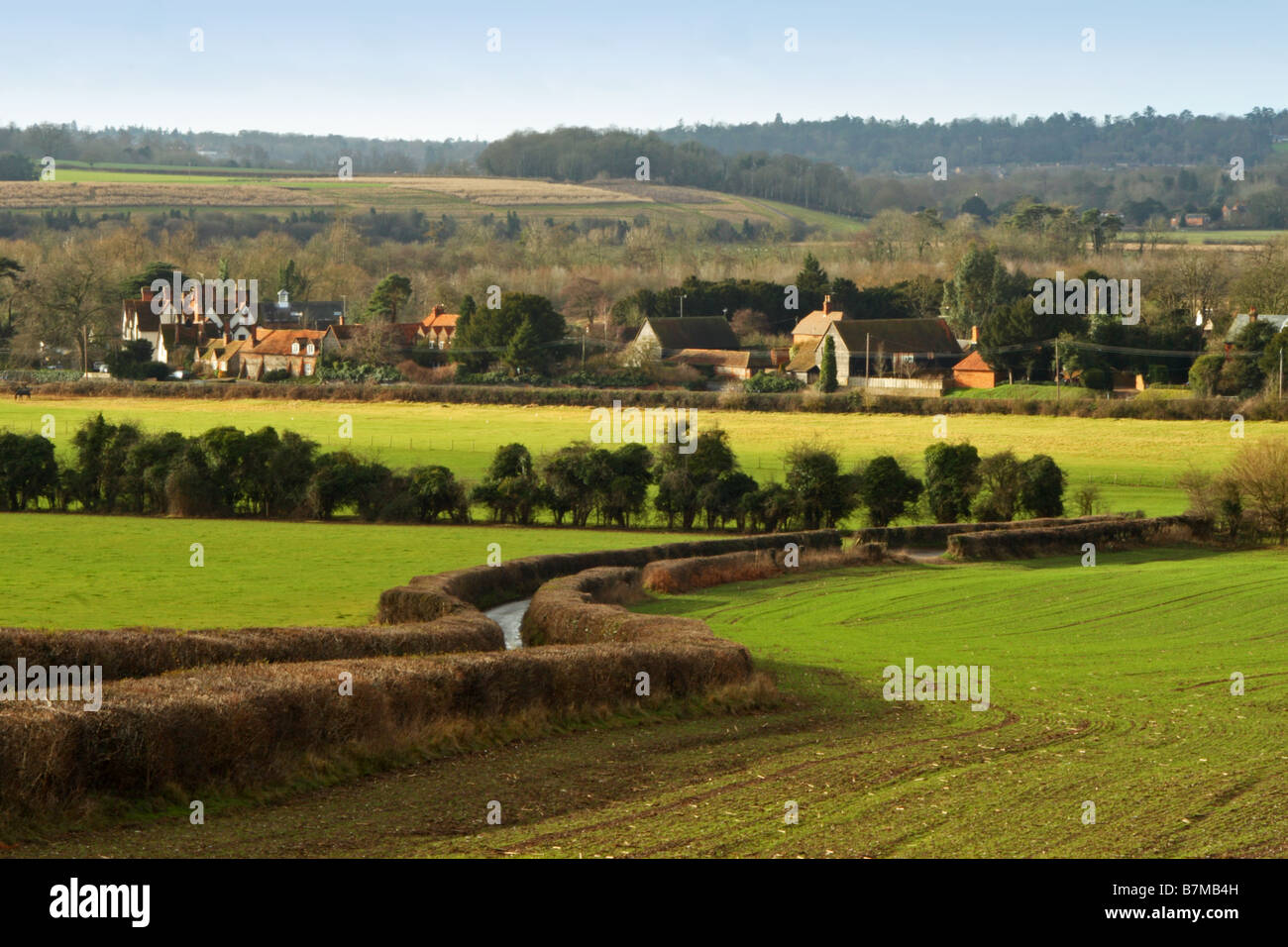 View from the Chiltern Hills near Hambleden, towards Henley-on-Thames - Stock Image