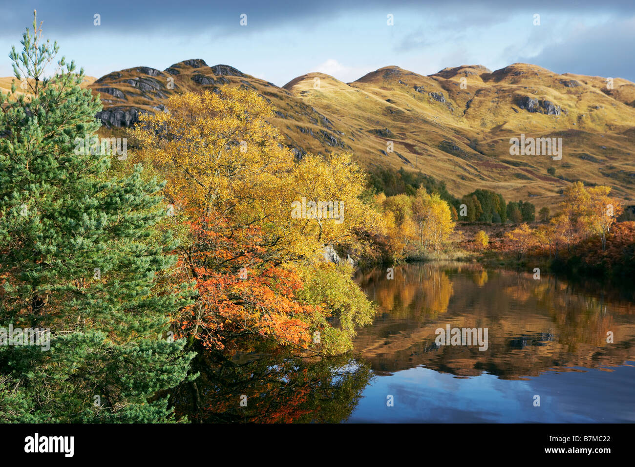 Autumnal colours and reflections in Loch Eilt Highlands Scotland - Stock Image