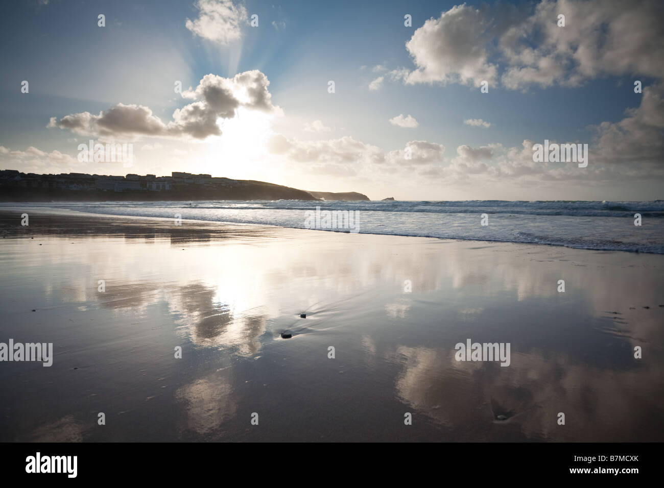Fistral beach evening Newquay Cornwall England UK - Stock Image