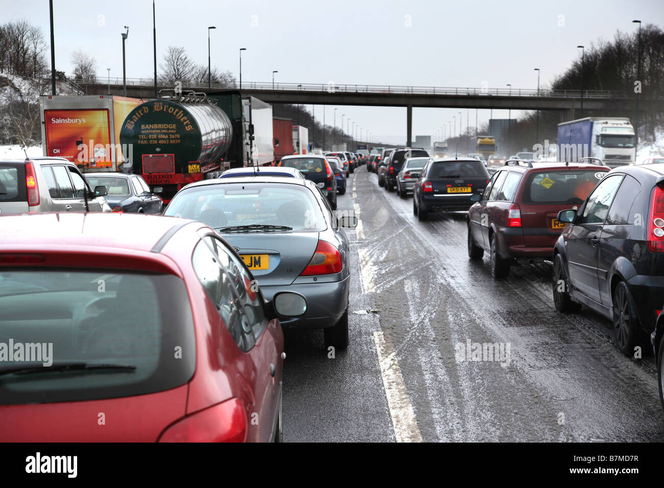 M20, traffic tailback on coast bound carriageway. Kent. UK - Stock Image