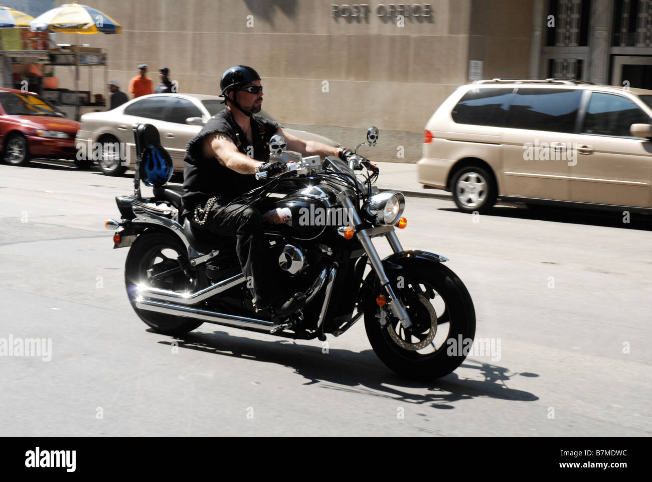 Biker in New York city - Stock Image