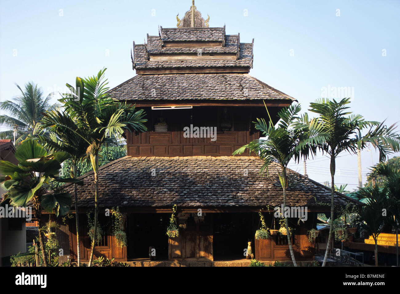 Wooden Scripture Pavilion ('Tripitaka'), Library or Repository, Wat Luang Buddhist Temple, Phrae, northern - Stock Image