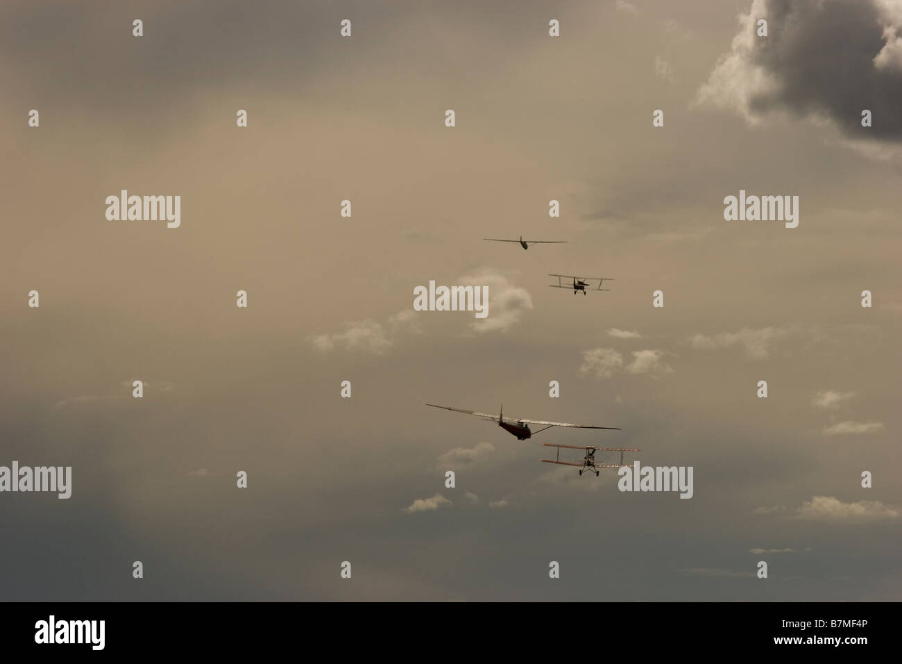 Pulling up gliding planes - Stock Image