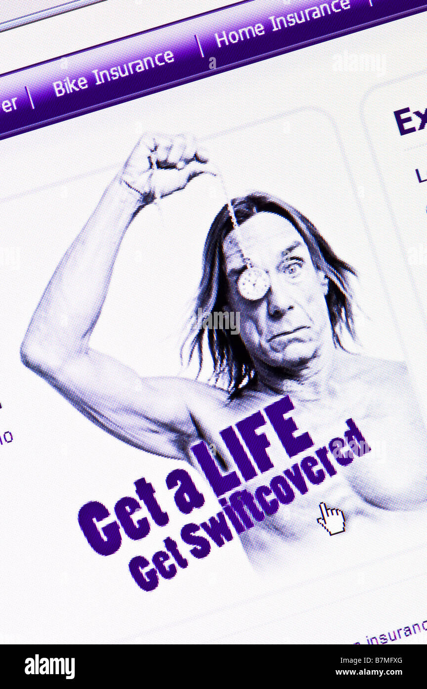 Macro screenshot of Iggy Pop's internet advert for Swiftcover - the UK based online insurance company (Editorial - Stock Image