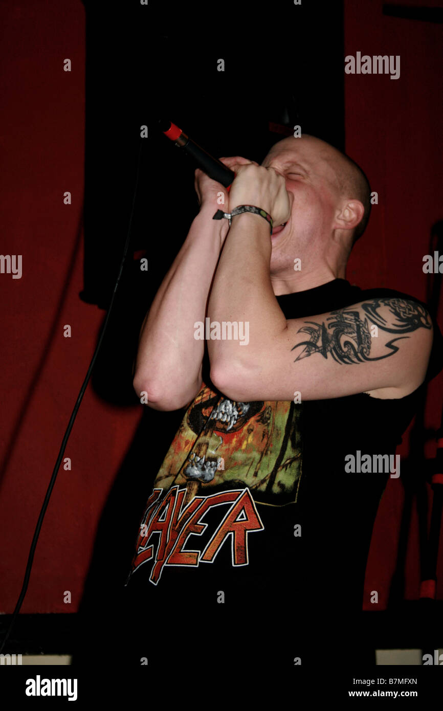 Simon Manion Vocalist, Black Skies Burn - Stock Image