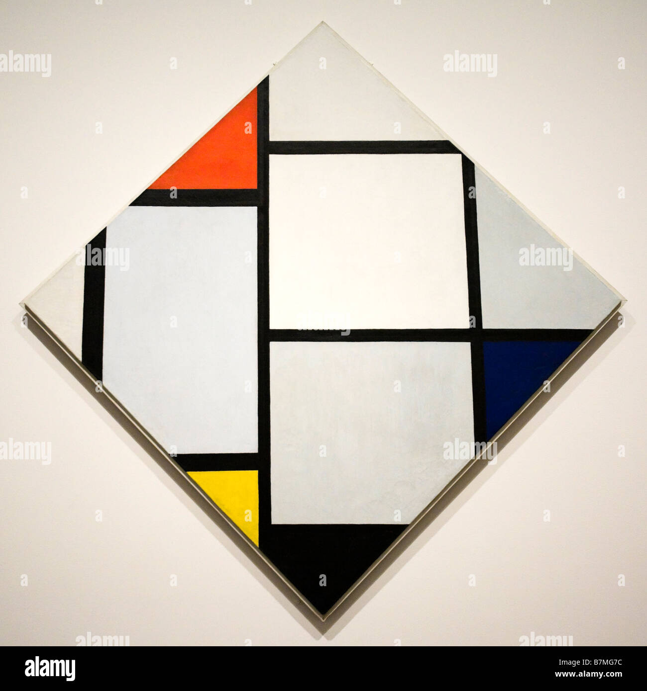 'Tableau No. IV; Lozenge Composition with Red, Gray, Blue, Yellow, and Black' by Piet Mondrian, 1924 - Stock Image