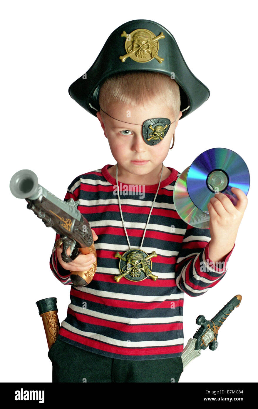 pirate boy holding CD, DVD disk - Stock Image