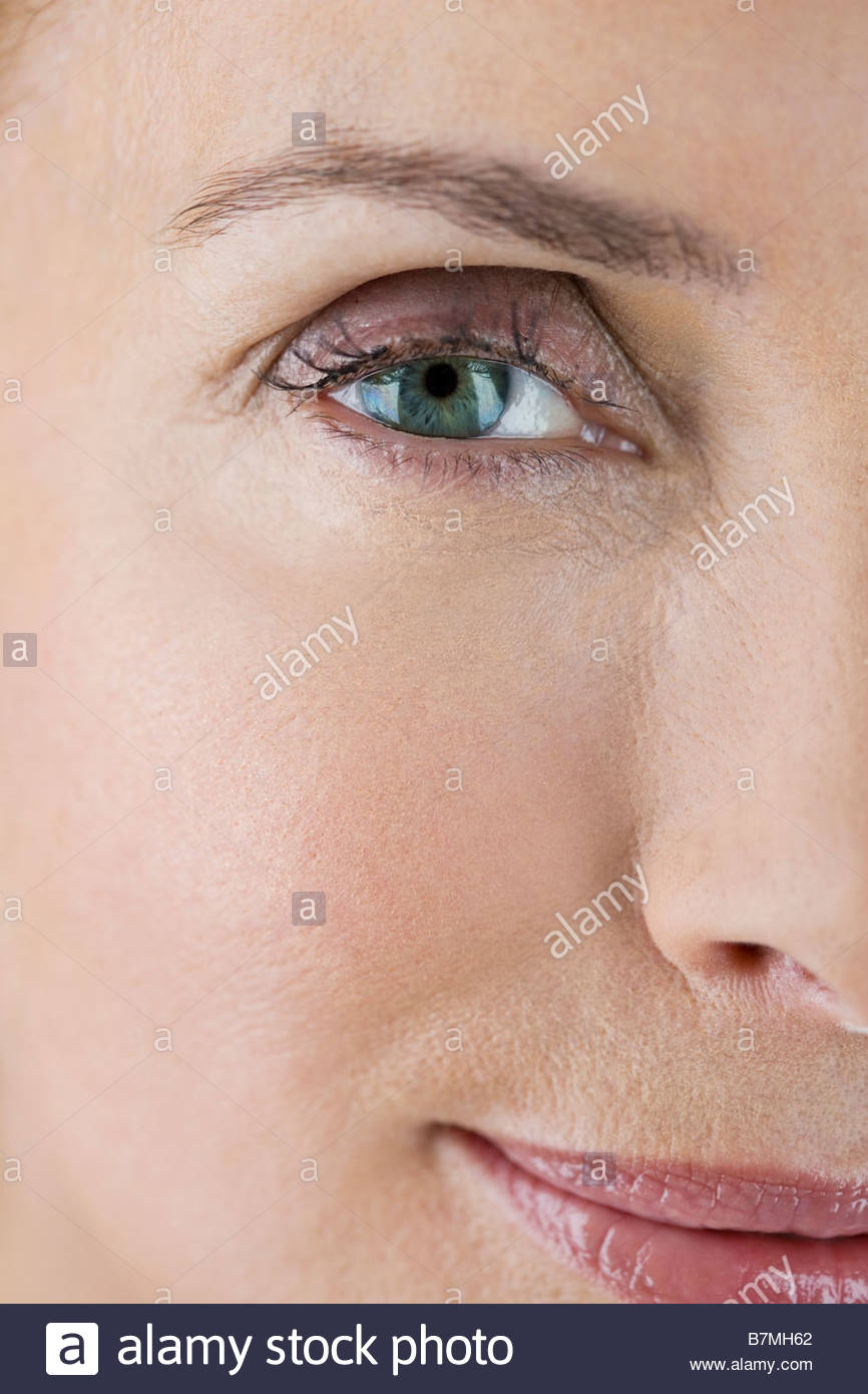 A portrait of a middle-aged woman's face and eyes - Stock Image
