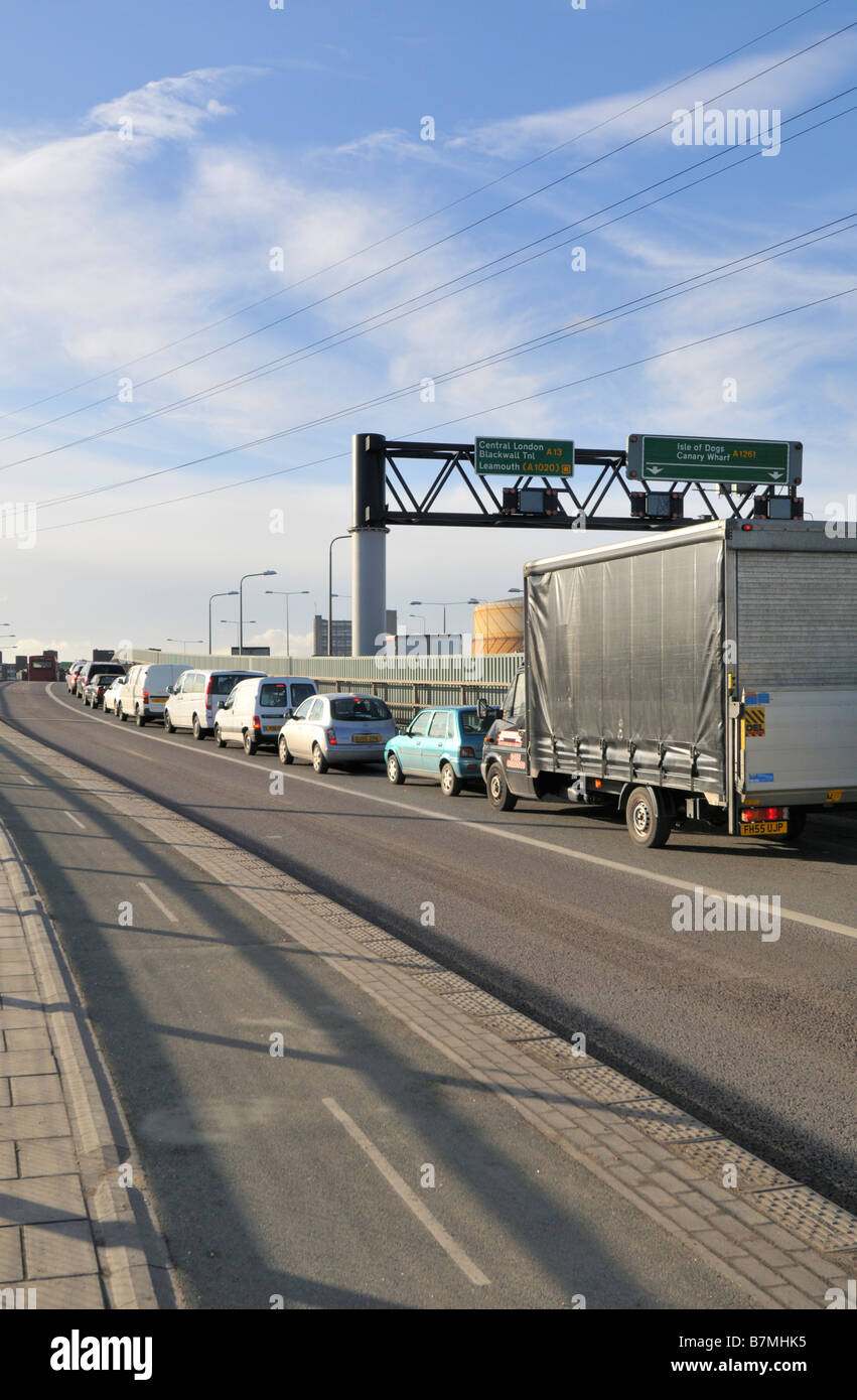 East London traffic congestion Canning Town London United Kingdom - Stock Image