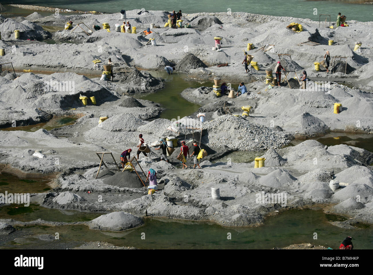 Sand and stone quarry River Seti Pokhara Nepal - Stock Image
