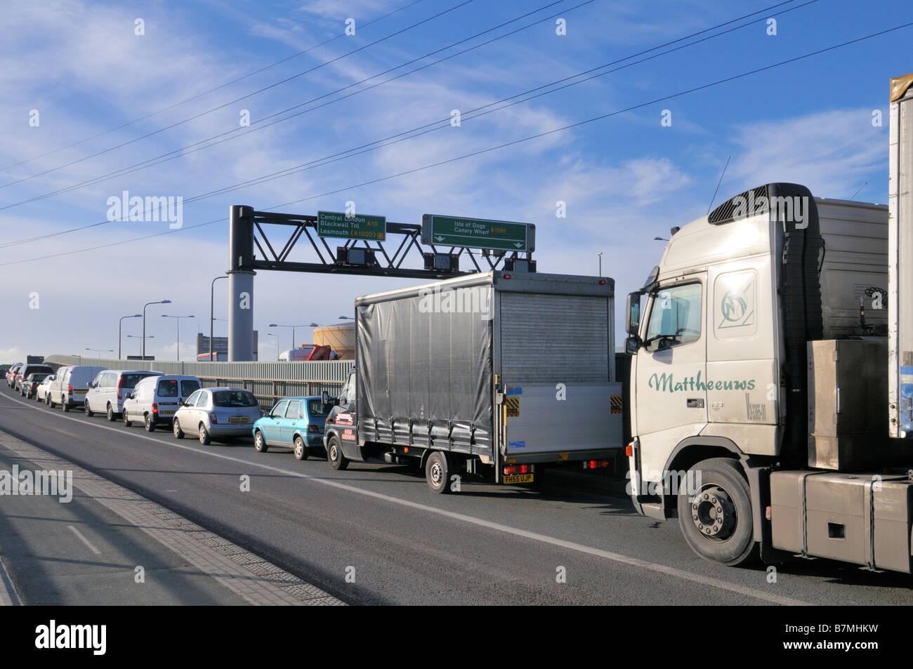 East London traffic congestion Canning Town London United Kingdom Stock Photo