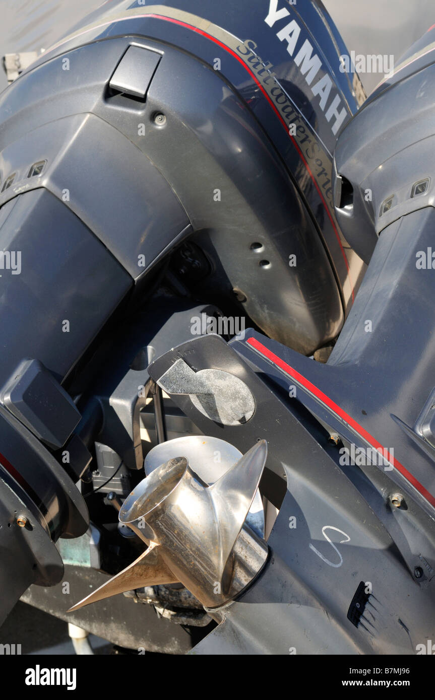 Yamaha outboard motors showing stainless steel prop zinc and engine housing - Stock Image
