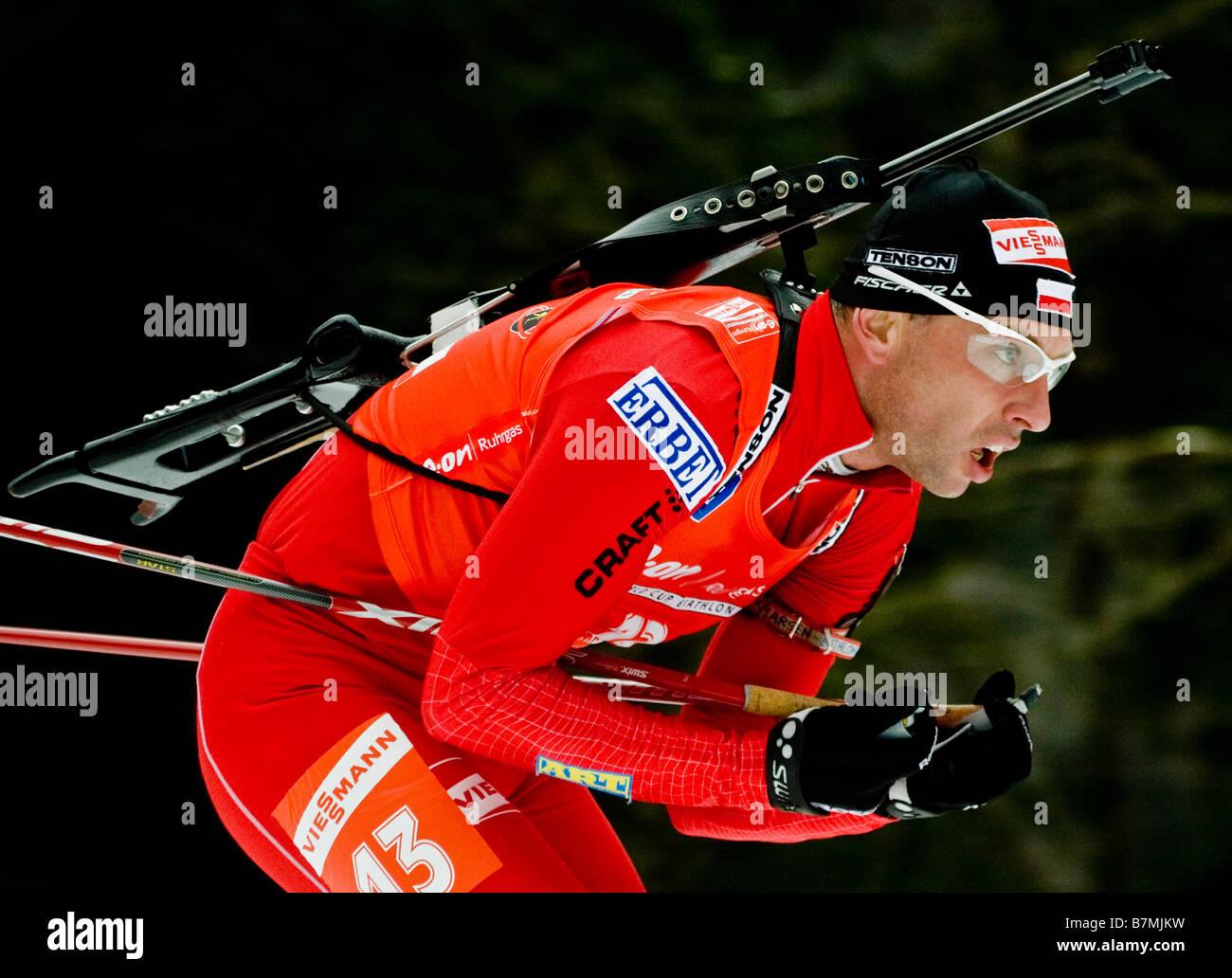 SIKORA Tomasz Polen Biathlon Weltcup Verfolgung Frauen Männer Ruhpolding 18 1 2009 - Stock Image
