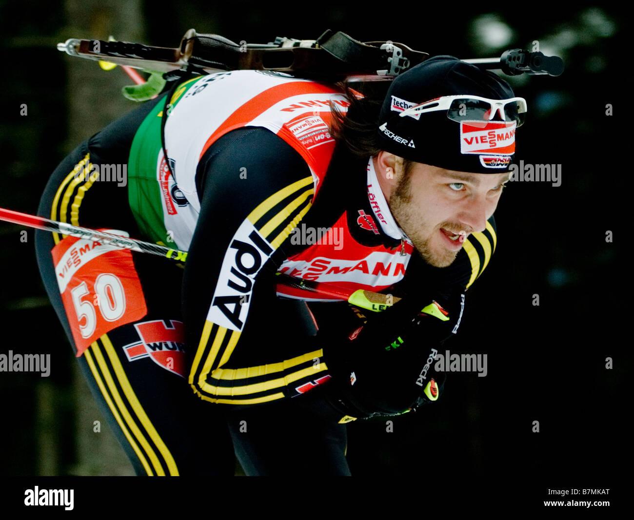 WOLF Alexander Deutschland Biathlon Weltcup Verfolgung Frauen Männer Ruhpolding 18 1 2009 - Stock Image