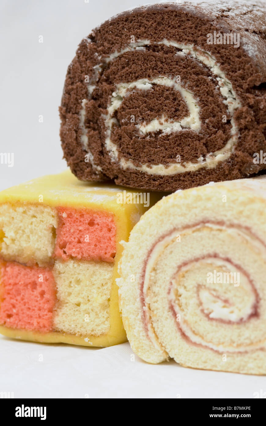 Swiss Roll, Battenburg and roulade - Stock Image