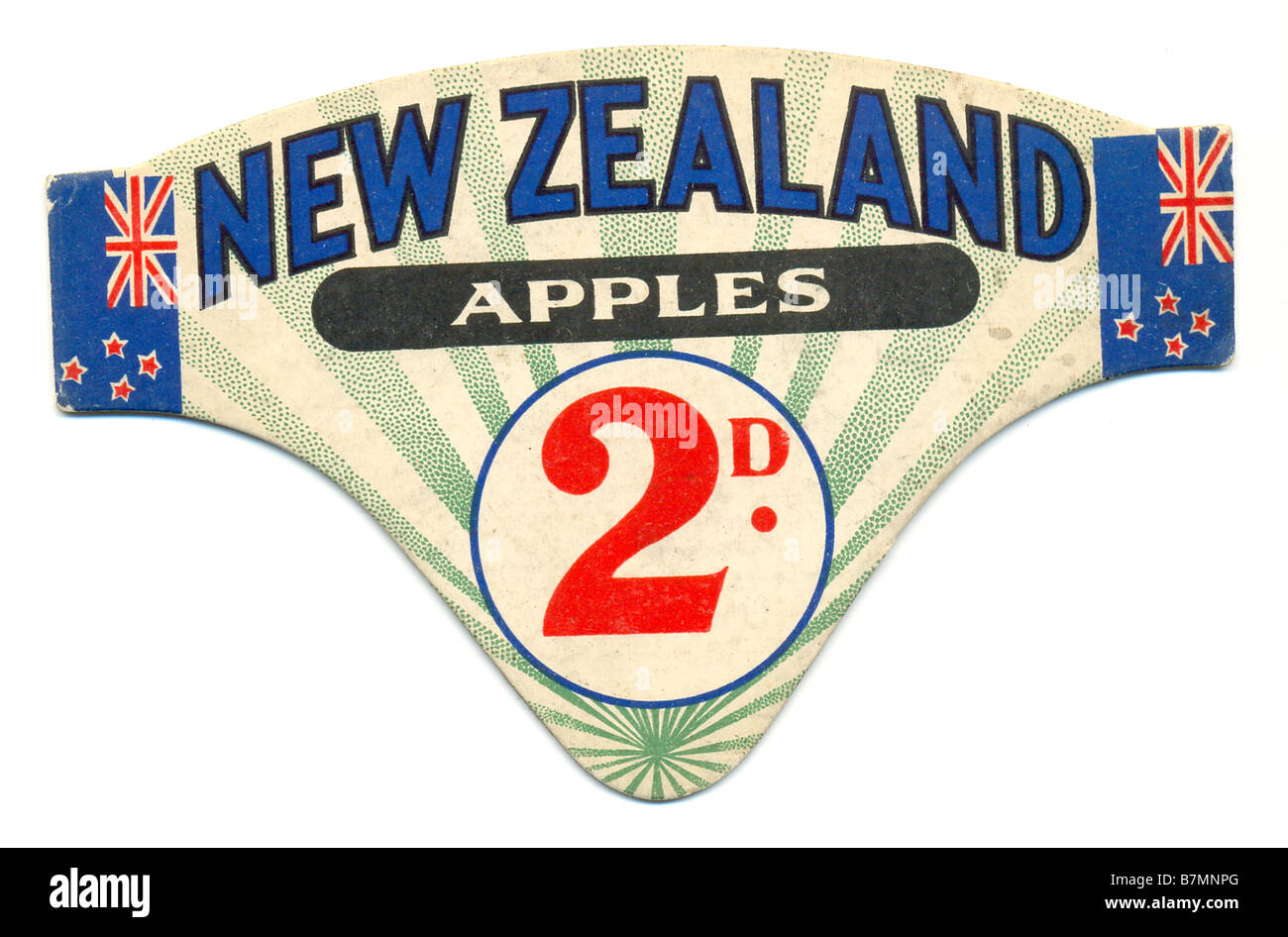 Shop price card for New Zealand apples circa 1930 - Stock Image