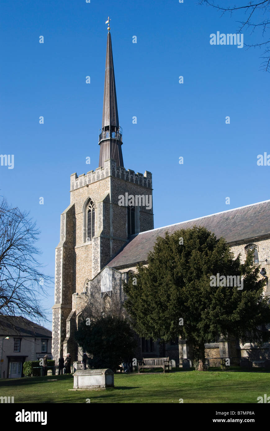 Church of St Peter & St Mary, Stowmarket, Suffolk, UK. The modern spire added in 1994Stock Photo