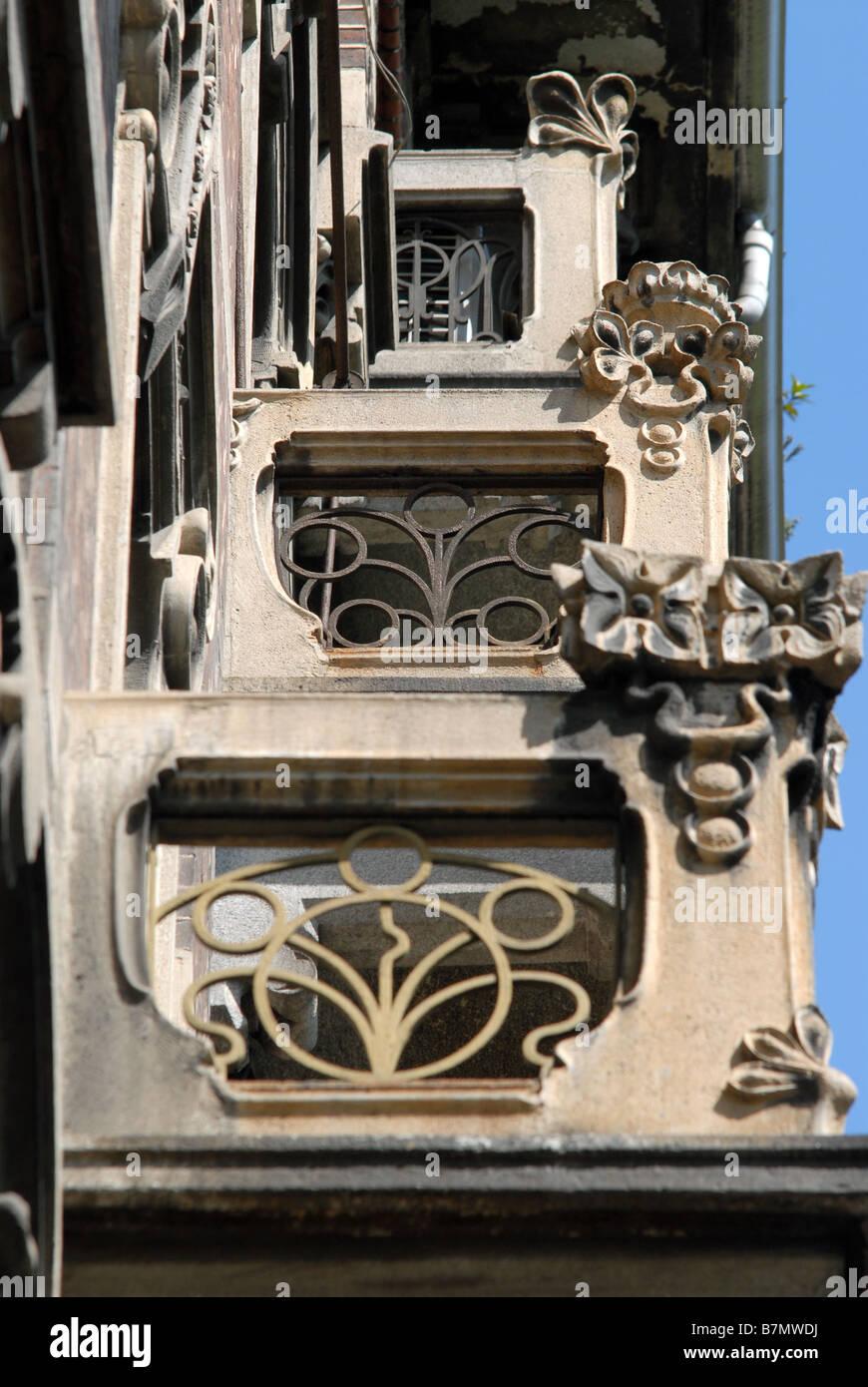 Balconies on buildings on Corso Galileo Ferraris, Turin, Piedmont, Italy. - Stock Image