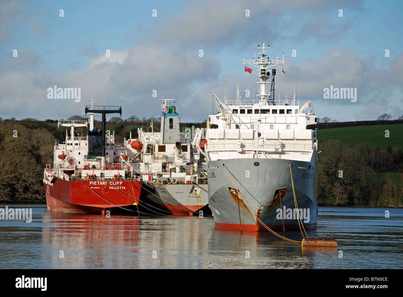 tankers laid up in the river fal near truro,cornwall,uk - Stock Image
