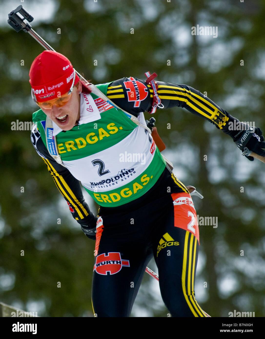 WILHELM Kati Deutschland Biathlon Weltcup Verfolgung Frauen Männer Ruhpolding 18 1 2009 - Stock Image