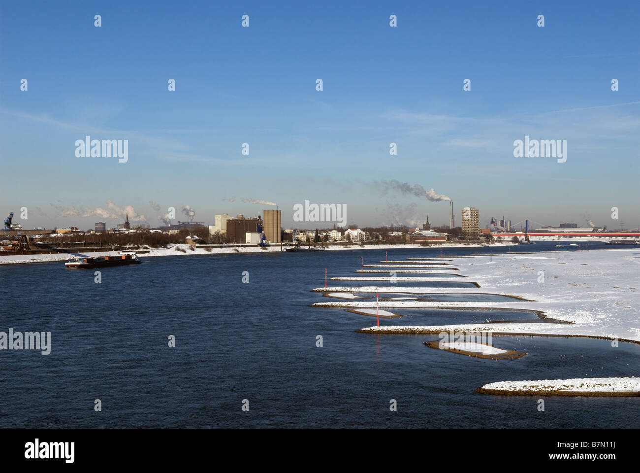 River Rhine, Duisburg, North Rhine-Westphalia, Germany. Stock Photo
