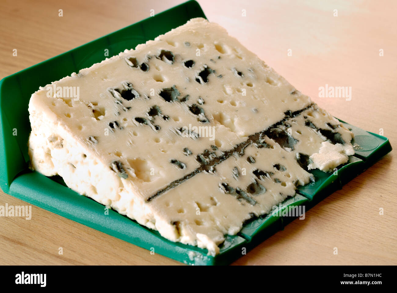 'French Food' 'French Cheese' Slice of Roquefort 'Blue Cheese' 'local food' - Stock Image