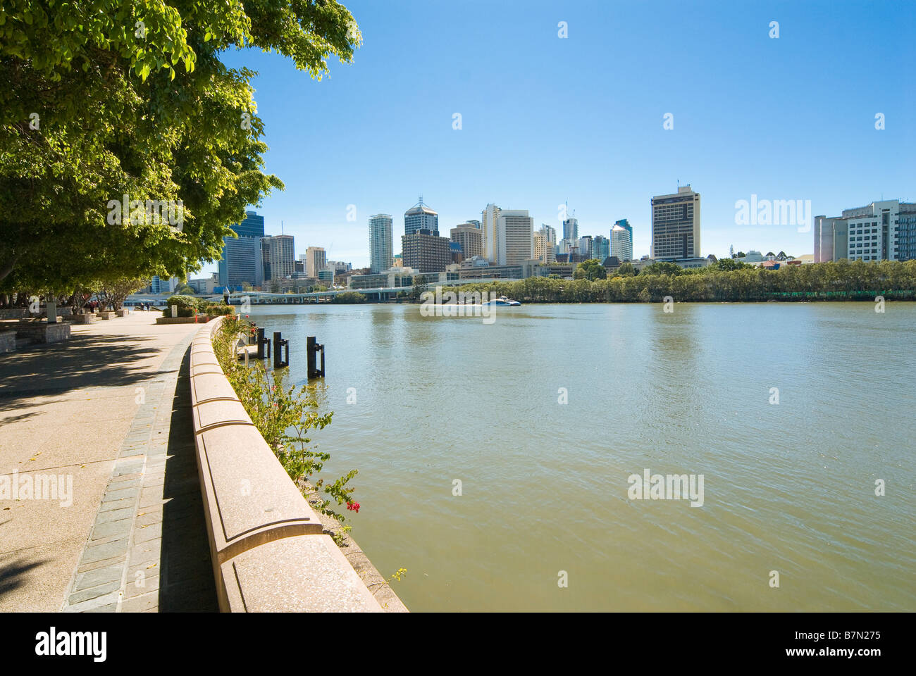 South Bank Parklands and Skyline of Brisbane, Queensland, Australia - Stock Image
