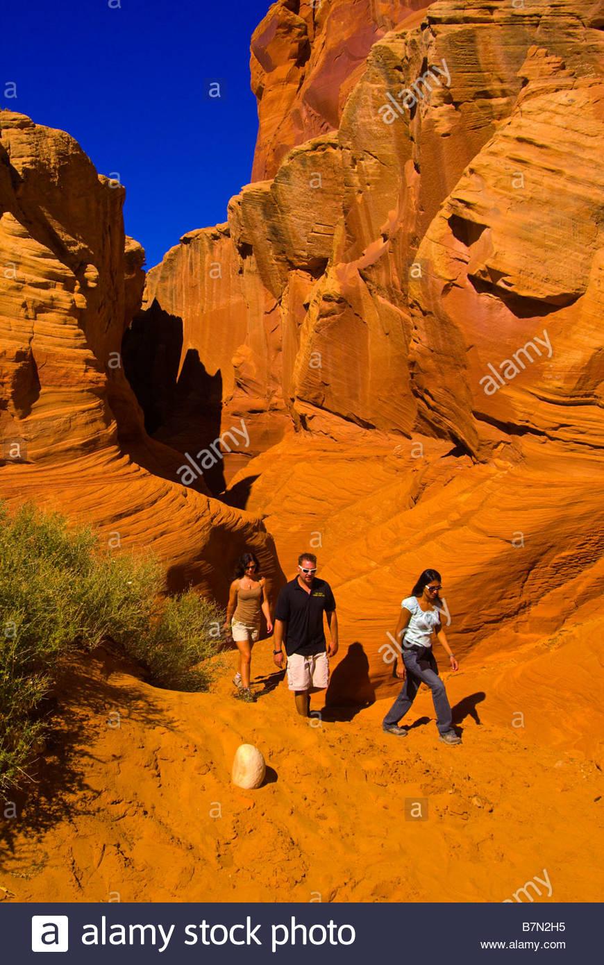 Hiking Secret Canyon slot canyon near Page Arizona USA Stock Photo
