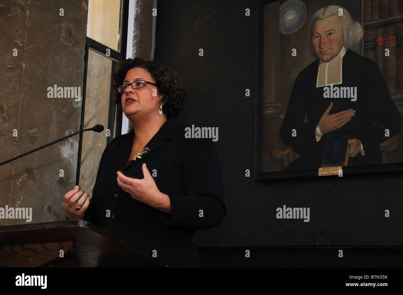Poet Elizabeth Alexander, who read a poem at President Barack Obama's inauguration, addressing a gathering at - Stock Image