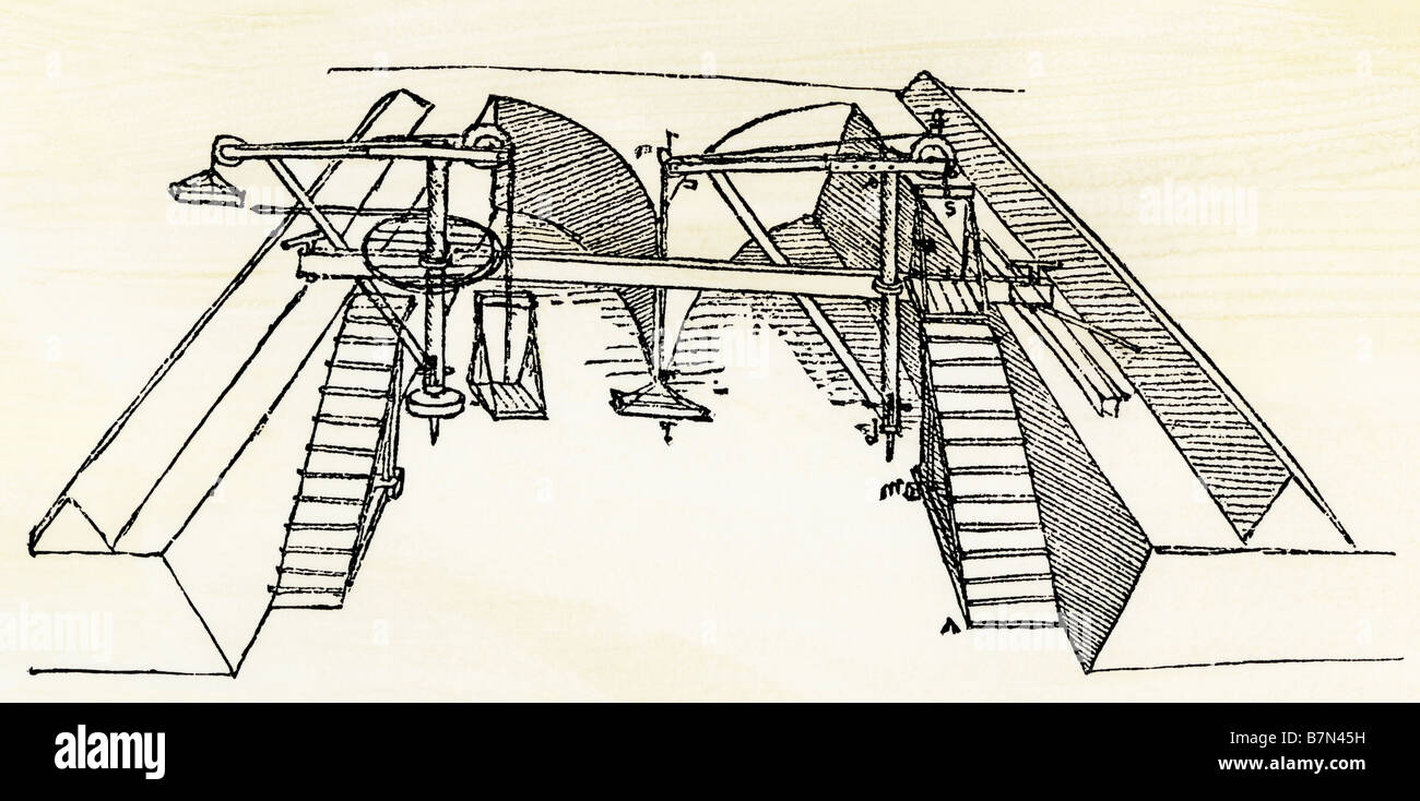 Leonardo da Vinci drawing of a device for excavating a canal. Woodcut with a watercolor wash - Stock Image