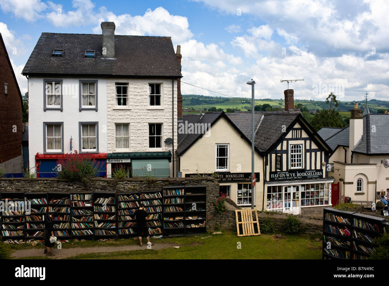 Hay on Wye with some of the books on sale in the castle grounds. - Stock Image