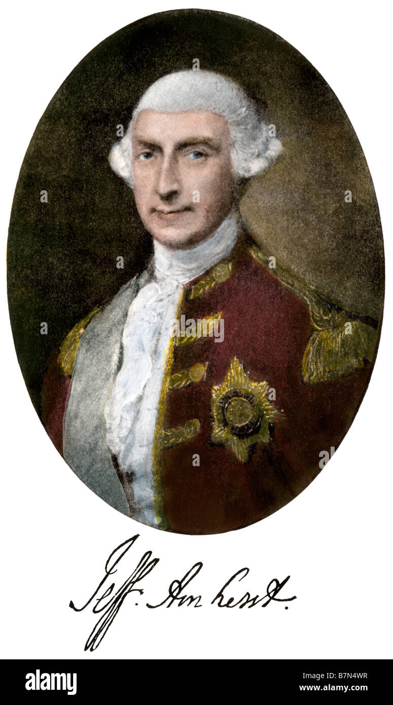 Jeffrey Amherst commander in chief of the British army and Governor-General of British North America. Hand-colored - Stock Image