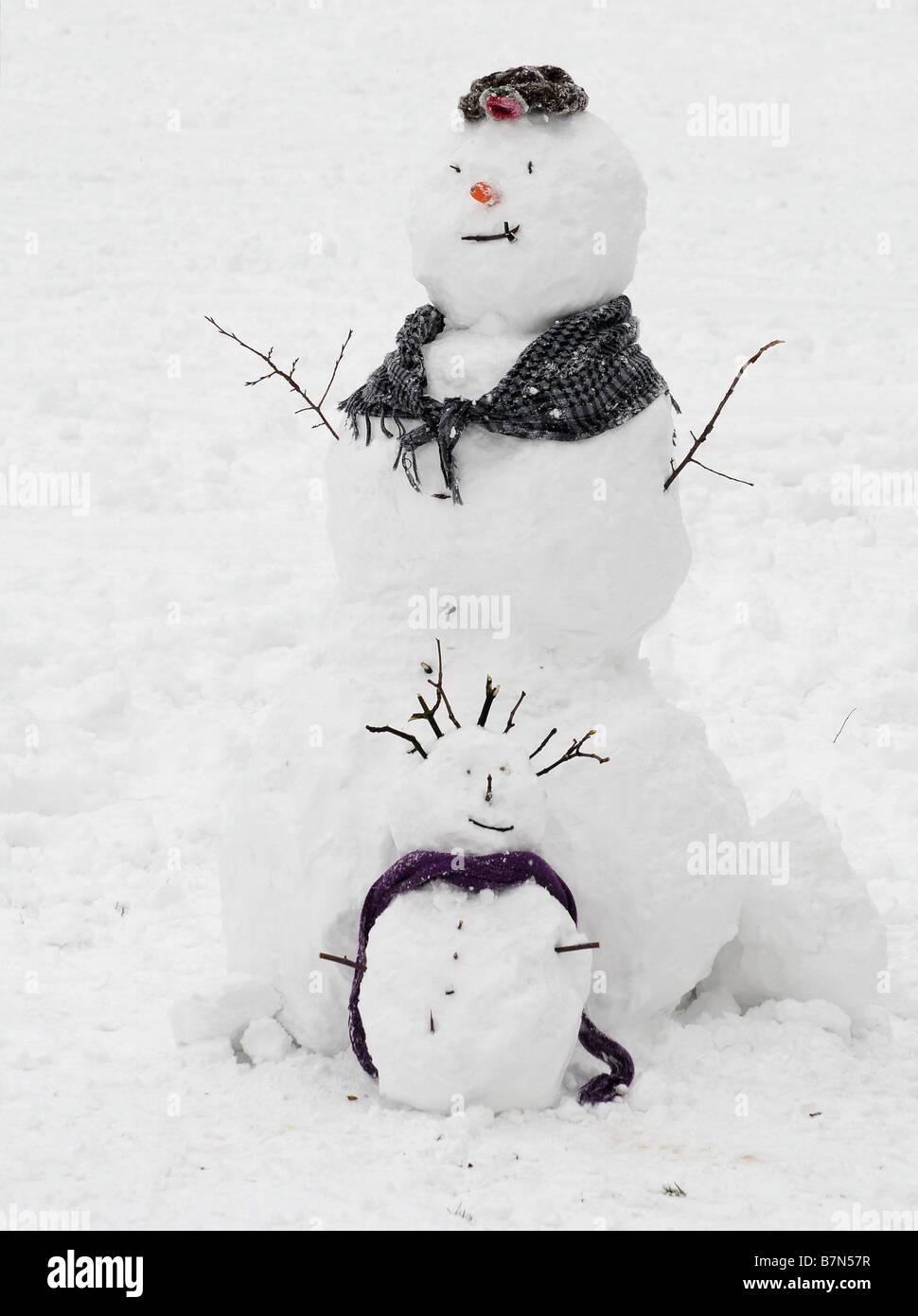 Two snowmen - Stock Image