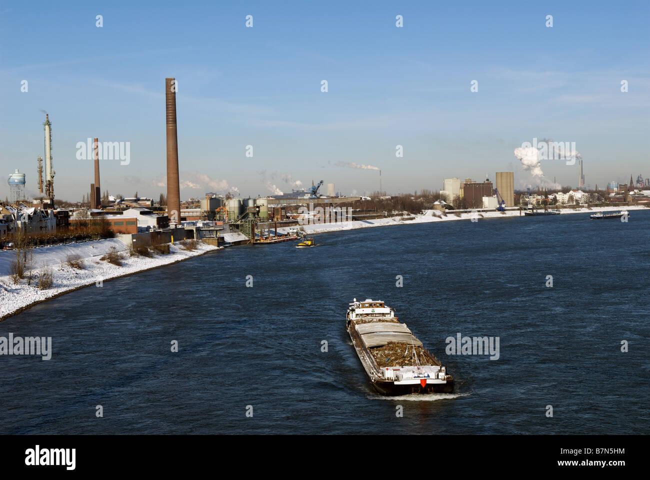 River Rhine, Duisburg/Homberg, North Rhine-Westphalia, Germany. Stock Photo