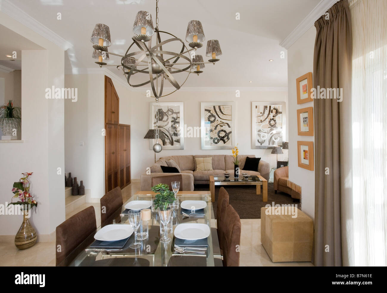 Chandelier Above Table In Modern Openplan Living And Dining ...