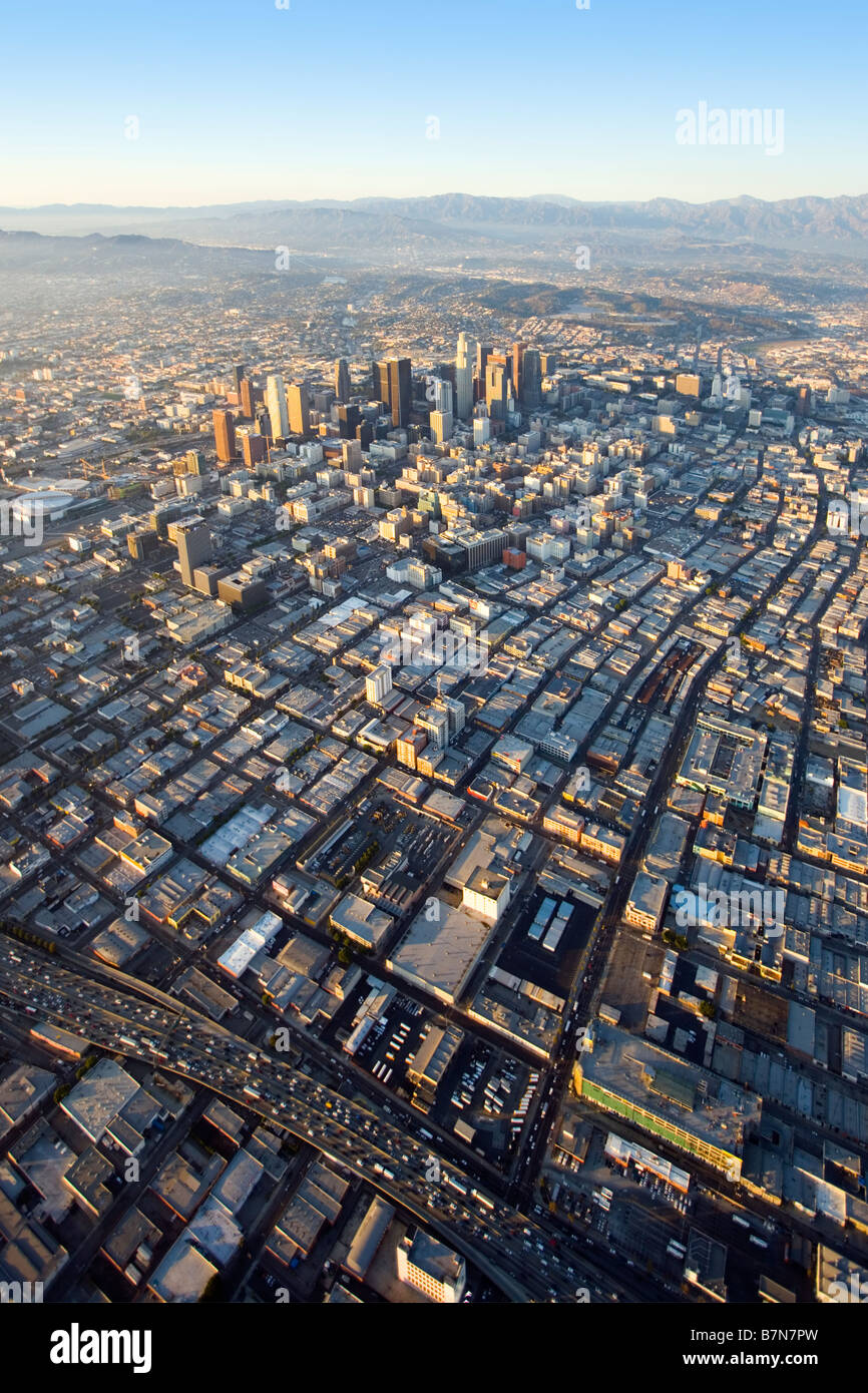 Downtown Los Angeles aerial view - Stock Image