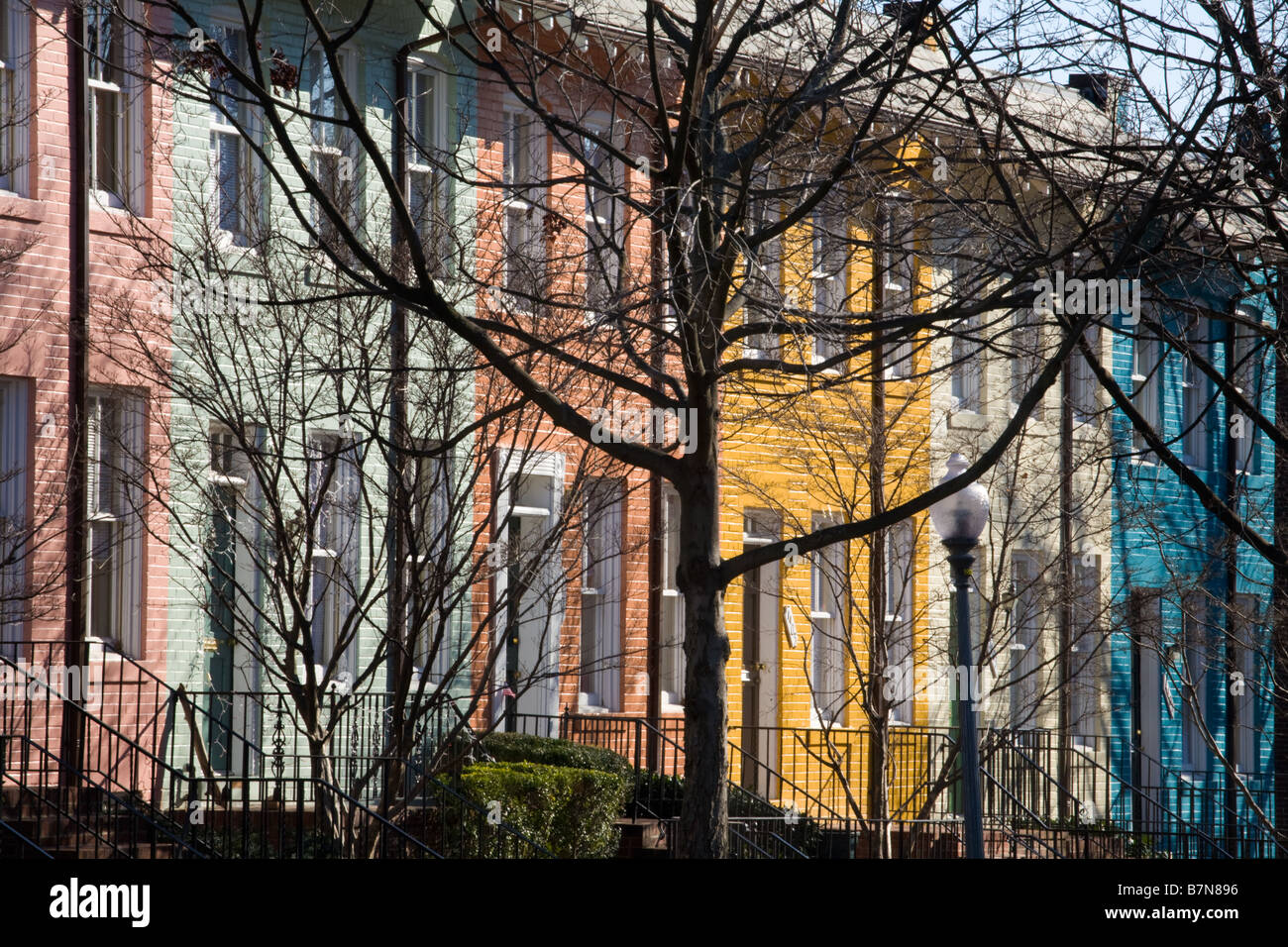 Colorful row houses Georgetown Washington D.C. - Stock Image