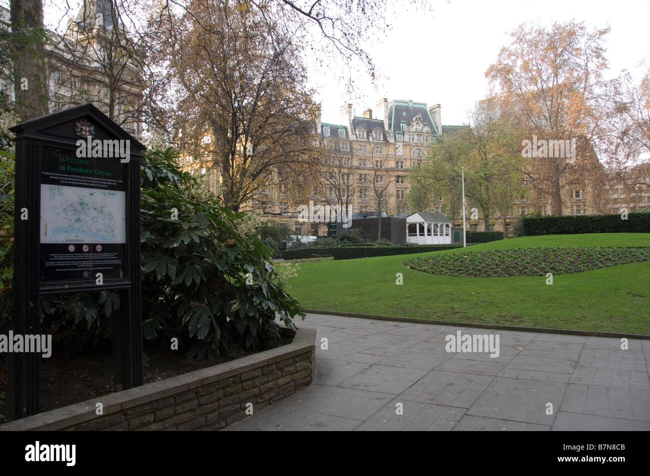 Entrance to Finsbury Circus Park, City of London, England - Stock Image
