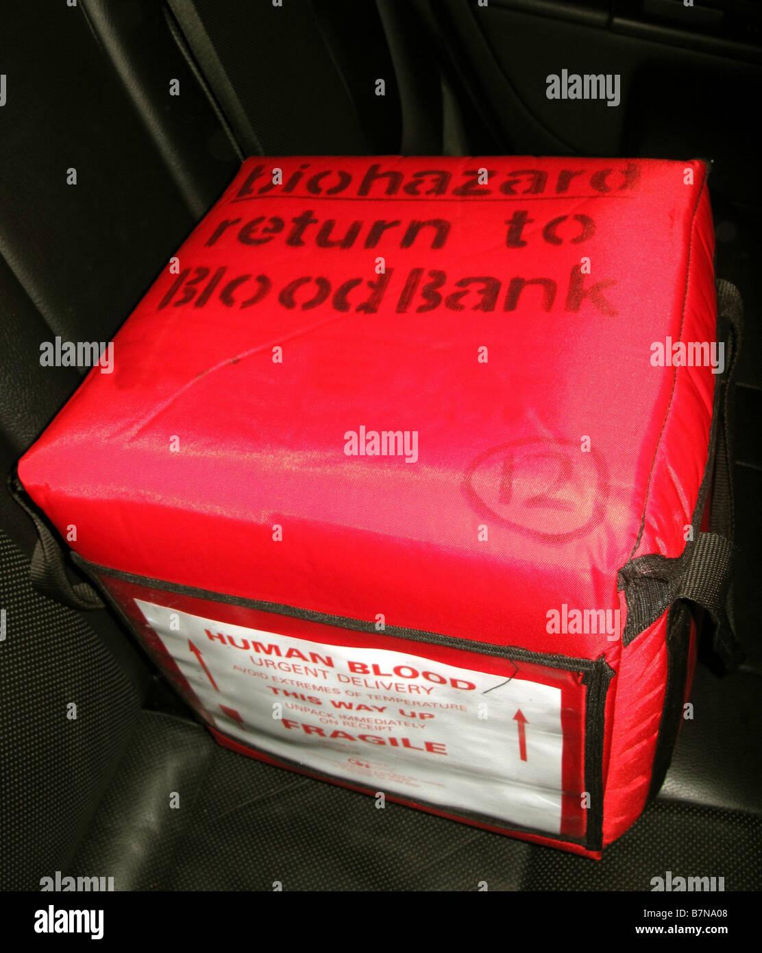 Human Blood Transportation box South Wales GB UK 2009 - Stock Image