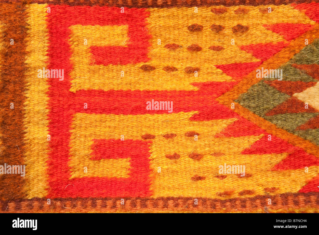 Close-up of a traditional Navajo rug pattern - Stock Image