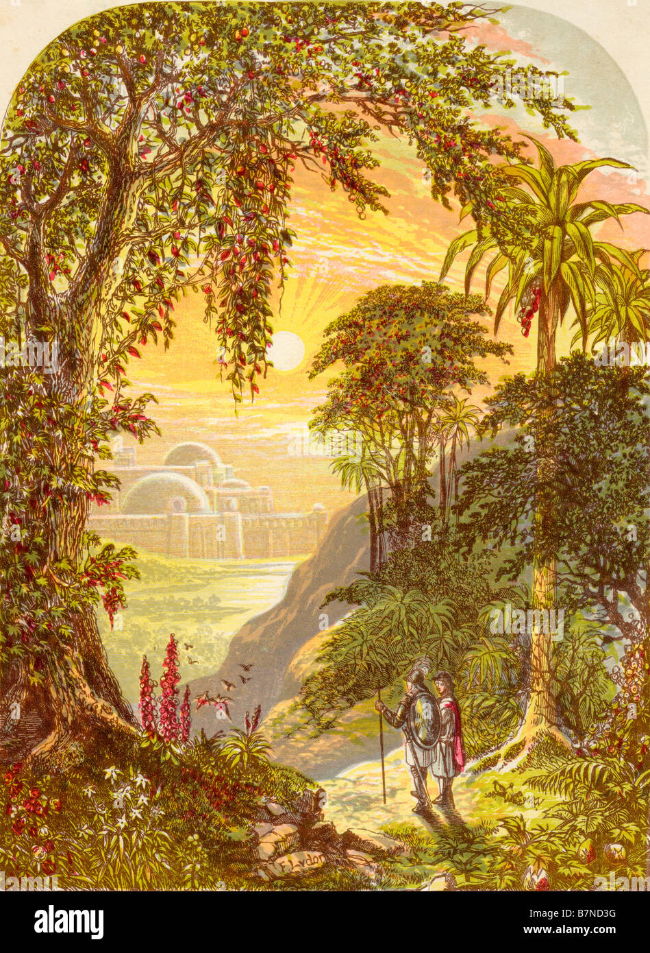 Christian and Hopeful in the land of Beulah From the book The Pilgrims Progress - Stock Image