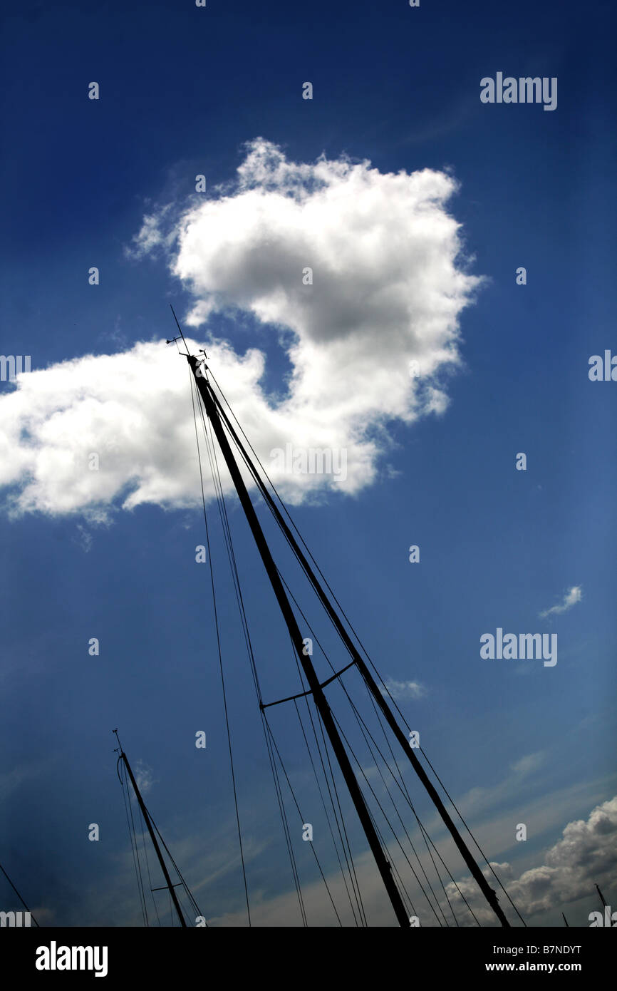 abstract view of a yachts mast. - Stock Image