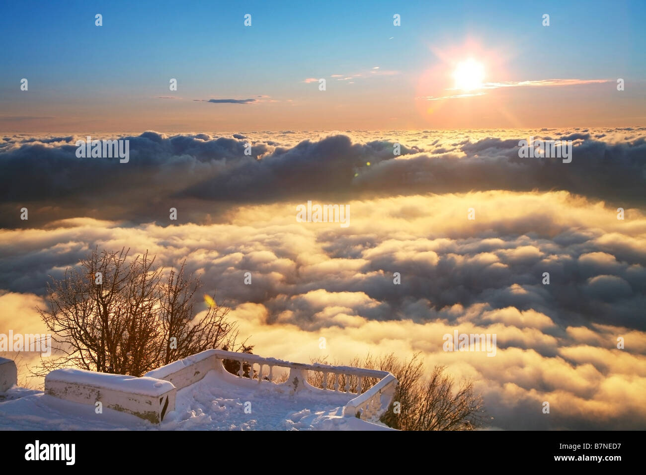 platform above clouds - Stock Image