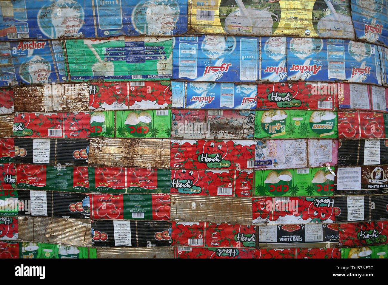 Wall made from flattened tin cans Hargeisa Somaliland - Stock Image