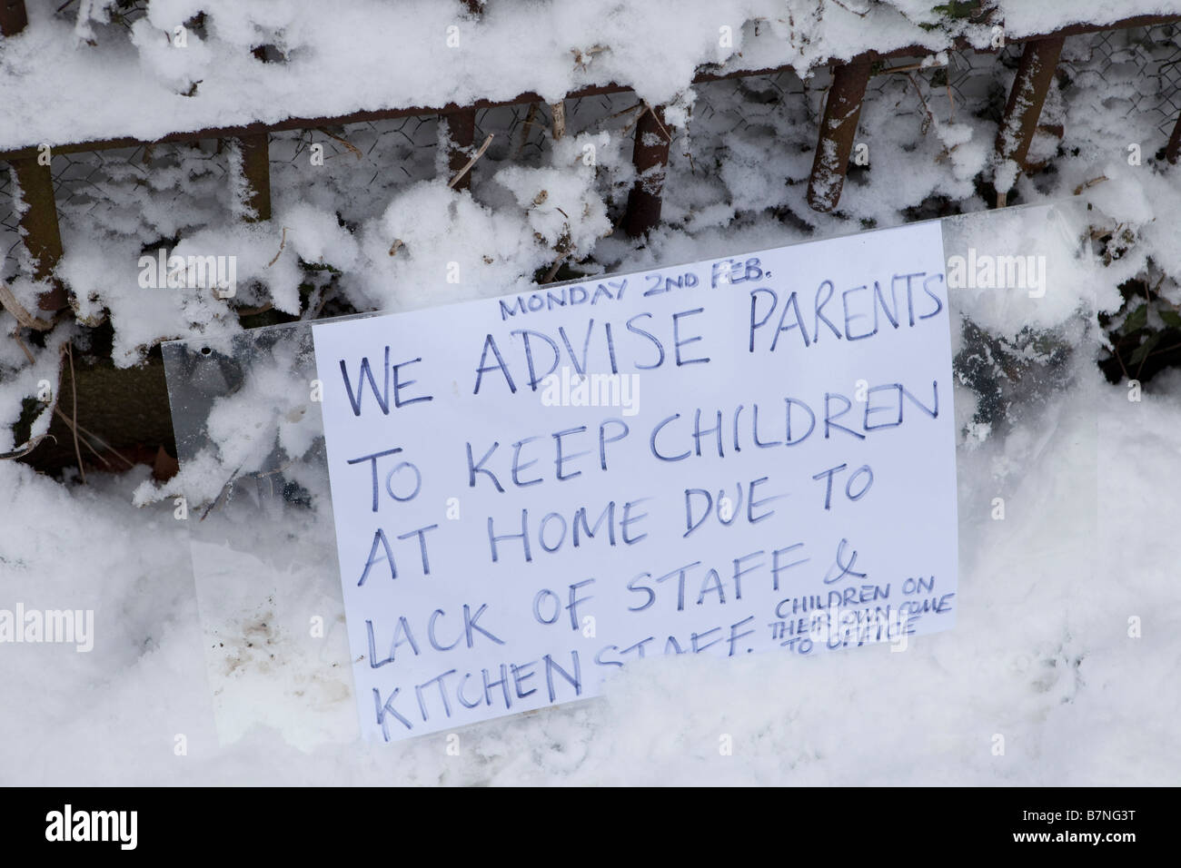 A primary school in north London is closed after snow on the 2nd of February 2009 the heaviest snow fall in 18 years - Stock Image