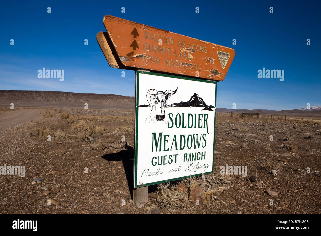 Bureau of Land Management sign indicating distances to Soldier Meadows Summit Lake and High Rock Lake on top of - Stock Image