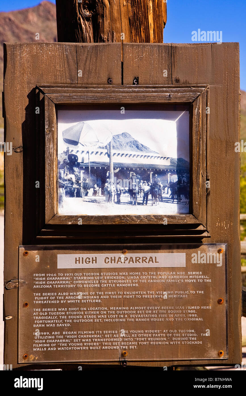 Image at the signpost for the High Chaparell film location in Old tucson Arizona - Stock Image