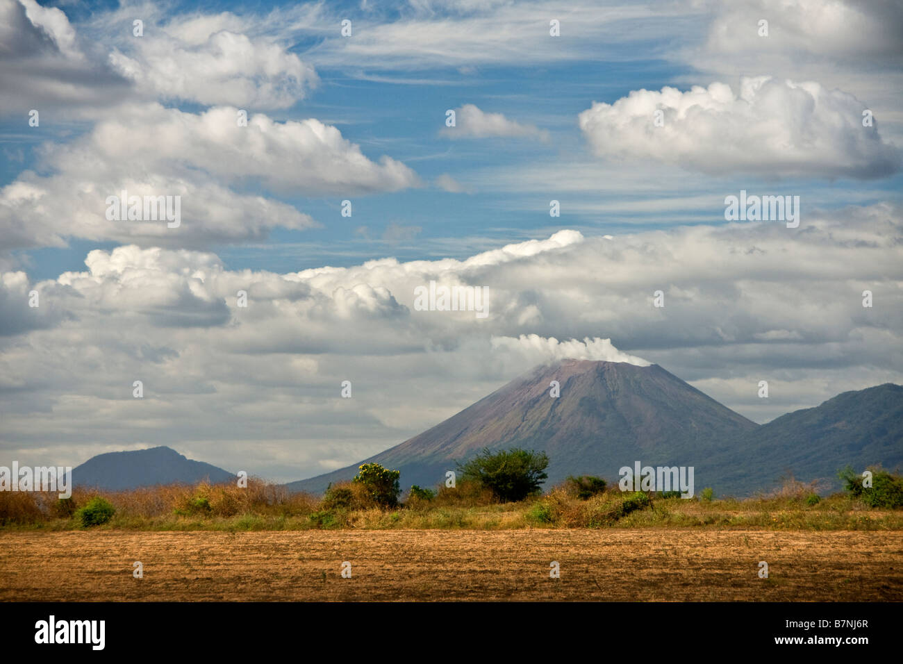 San Cristobal, active cone-shaped smoking volcano, is highest in Nicaragua - Stock Image